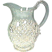 Pattern Glass Pitcher Sawtooth Design Applied Handle