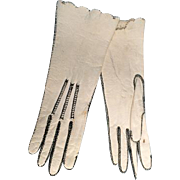 "White Leather Antique French Fashion Doll Gloves 4"" Long"