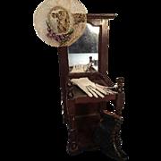 Antique Doll Size Miniature Mahogany Hall Tree Seat with Mirror