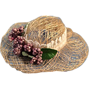 Small Size Straw Like Doll Hat with Lace Band and Purple Flower