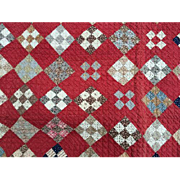 """Antique 9 Patch Quilt Red Set Up and Red Calico Back 82"""" X 68"""""""