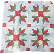 "Antique Quilt Piece Cut from 1840s Quilt Reds & Green 39"" Square"