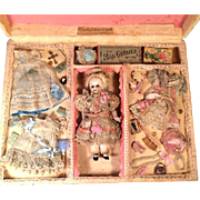 "Antique 7"" All Bisque Jointed Doll Marked 3 with Wardrobe in Fabulous Presentation Box"