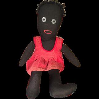 "Vintage Handmade 20"" Black Rag or Cloth Doll 1980s"