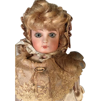 """11"""" Bisque Head French Doll Lovely Beige or Off White Satin Custom Outfit with Antique Shoes"""