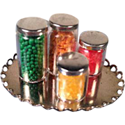 "Set of 4 Dollhouse Miniature Spice Containers / Canning Jars Metal Lid 1"" Scale"