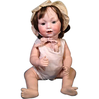 "19"" Antique Bisque Head Bent Leg Baby Doll GB 327 // A 10 M Armand Marseille"