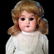 """15"""" Antique Bisque Shoulder Head AM Floradora Brown Eyes Blond Wig"""