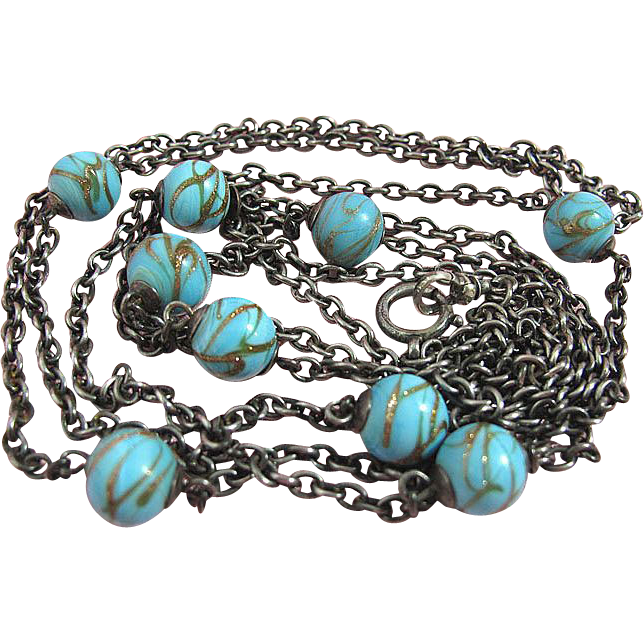 56 Inch Sterling Guard Chain / Muff Guard With Art Glass Beads
