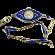 Vintage Enameled Sterling Vermeil Bucherer Art Deco Pendant Watch & Chain ON LAYAWAY