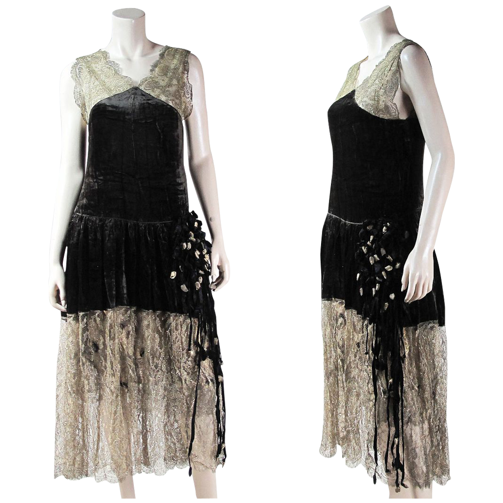 Vintage Couture Quality Ca. 1920 Embellished Metallic Lace & Gold Lame / Lamé Gown ON LAYAWAY
