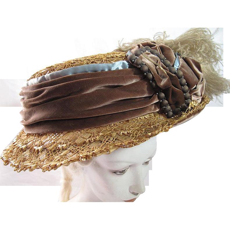Exceptional Antique Edwardian Titanic Era Decorated Straw & Raffia Hat