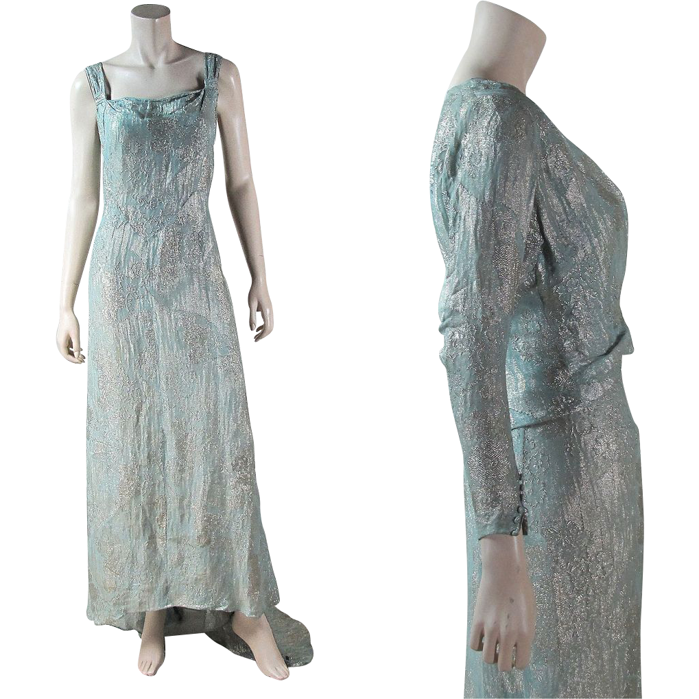 Vintage 1930's Lame' / Lame Jacket & Gown With Train