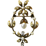 Antique Edwardian 14K Gold Diamond And Pearl Garland Era Pendant Brooch