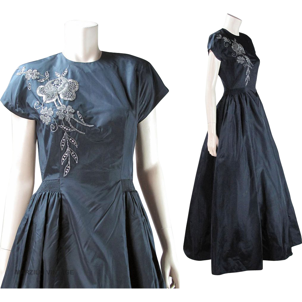 Vintage 1940's Beaded Taffeta Party Dress With Rhinestones