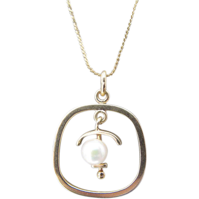 Estate 14K Gold Anchor & Pearl Pendant Necklace