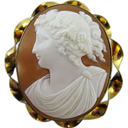 Antique Edwardian Left Facing Bacchante Maiden Cameo Brooch