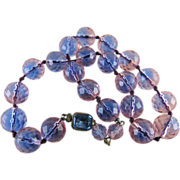 1920's Blue & Pink Faceted Color Change Crystal Bead Necklace