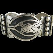 Vintage Mexican Pre-Eagle Mark Sterling Silver & Niello Bracelet