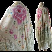 Vintage 1920's Art Deco Period Reversible Printed Silk Shawl