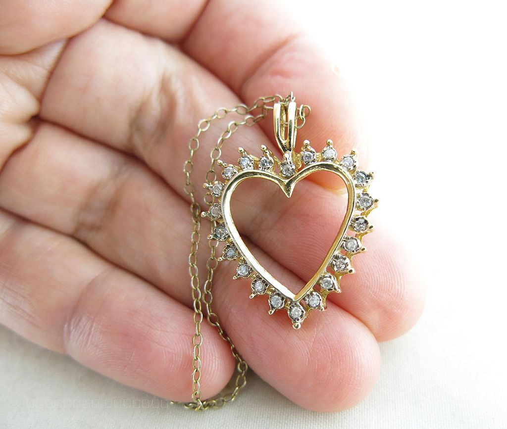 Vintage 14k yellow gold diamond heart pendant necklace sold on roll over large image to magnify click large image to zoom expand description beautiful vintage 14k heart pendant with 22 diamonds aloadofball Choice Image