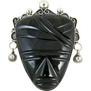 Vintage Los Ballesteros Mexican Sterling Silver & Obsidian Mask Brooch / Pin