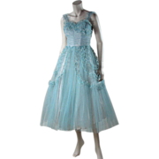 Dreamy 1950's Cotton Candy Blue Tulle Party Dress Trimmed In Metallic Silver