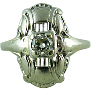 Stylish Art Deco Diamond Ring In 14K White Gold - Size 9