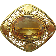18K Gold Arts & Crafts Brooch With 11.5 Carat Citrine