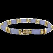 Estate 10K Gold Lavender Jade Bracelet