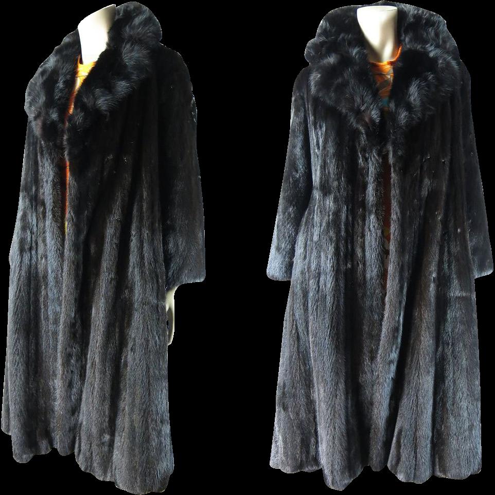 Vintage Black Mink Stroller Length Coat From Siberian Fur Company ...