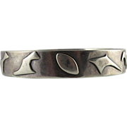 Chunky Vintage Modernist Sterling Silver Bangle Bracelet With Amorphic Shapes