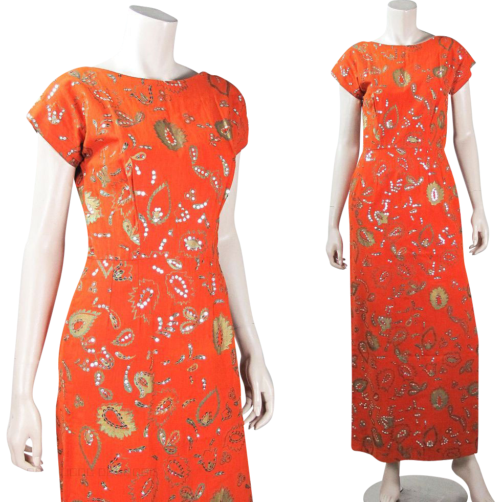 Vintage 1960's Lila Bath Bittersweet Orange Sheath Dress With Metallic Stenciling & Sequins