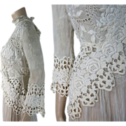 Lovely Antique Edwardian Rose Pattern Lace Jacket