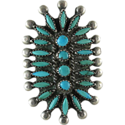 Vintage Zuni Silver Needlepoint And Petit-Point Turquoise Cluster Ring
