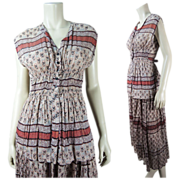 1970's Gauzy Indian Print Two-Piece Dress Old Stock With Hang-Tags