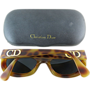1980's Vintage Christian Dior #2974 Simulated Tortoise Sunglasses With Original Case Rare Model