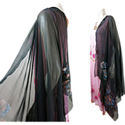 1920's Vintage Hand-Painted Gauzy Black Silk Shawl / Stole