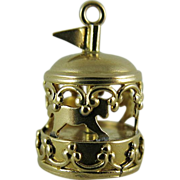 Vintage 14K Gold Mechanical Carousel Charm