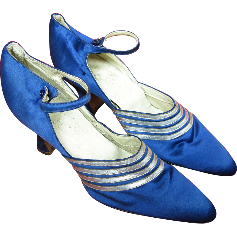 1920's Vintage French Art Deco Blue Silk Ankle Strap Shoes Grande Cordonniere Du Chat Noir