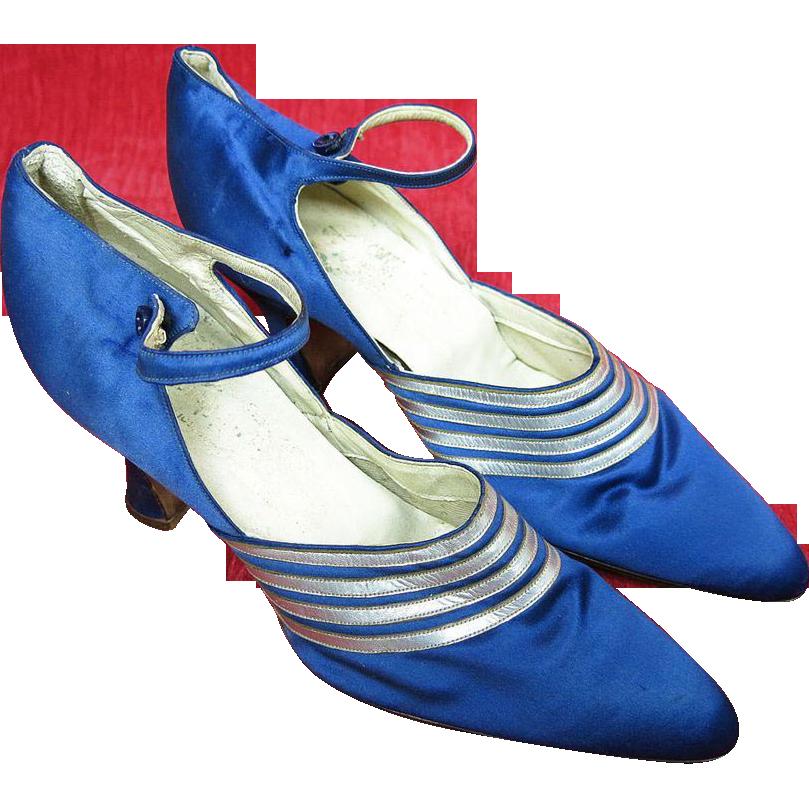 1920's Vintage French Art Deco Blue Silk Ankle Strap Shoes Grande Cordonniere Du Chat Noir