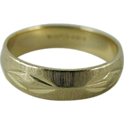 Vintage Retro Carved 14K Gold Wedding Band / Ring By Lohengrin Size 11.5