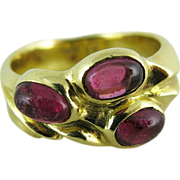 Vintage 18K Gold Rubellite Tourmaline Ring With Three Stones