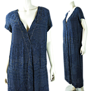 1920's House Of Adair Beaded French Silk Dress In Larger Size