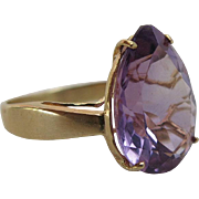 Vintage 14K Gold Cocktail Ring With Pear Shaped 9+ Carat Amethyst Size 10.5