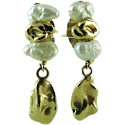Charming Vintage 14K Gold Nugget Freshwater Pearls Dangle Earrings
