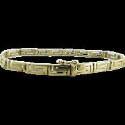 Vintage 14K Gold Pierced Greek Key Design Bracelet - 8 3/8-Inches Long