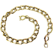 Vintage French 18K Gold Gourmette Link Bracelet - 8 3/4-Inches