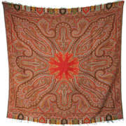 Crisp Antique Victorian Paisley Shawl With Red Center - Circa 1860