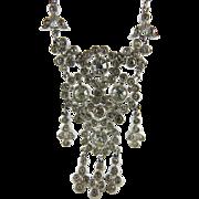 Antique Edwardian Garland Era Silver And Paste Necklace